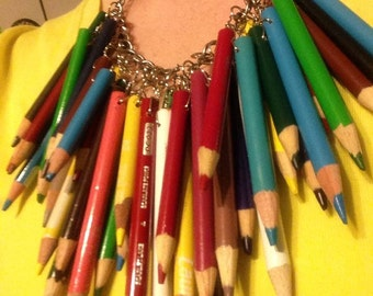 Unique, one-of-a-kind, upcycled color pencil necklace