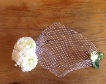 Birdcage Veil with White Roses