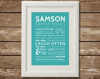 Personalized Family Rules, Printable, Digital Download, Personalized Print, Kids
