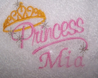 Personalised embroidered Princess bath towel (100% cotton)