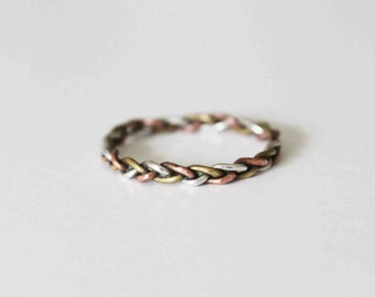 Silver, brass and copper ring
