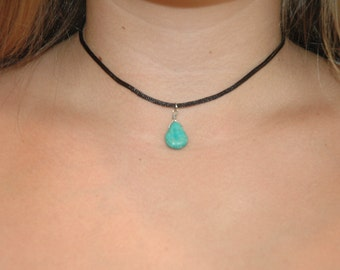 black satin choker with turquoise colored gem