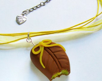 """Chocolate Candy With Lemon Filling Necklace  - """"Made with Love"""""""