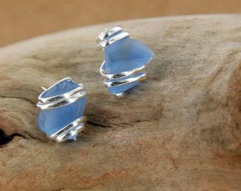Light Cobalt Sea Glass Stud Earring
