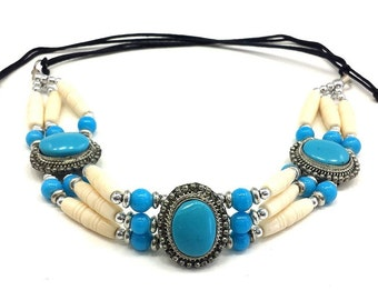 Handmade Traditional 3 Row Buffalo Bone Hairpipe Beads Tribal Choker Necklace
