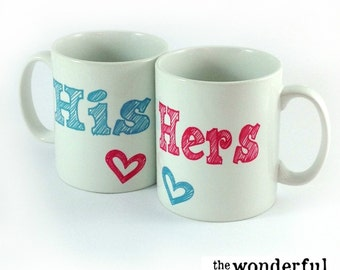His and Hers Two Mug Set - Perfect Wedding Gift for Bride and Groom or Anniversary Present