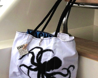 Octopus Beach Bag, Nautical Tote, Personalized Bag