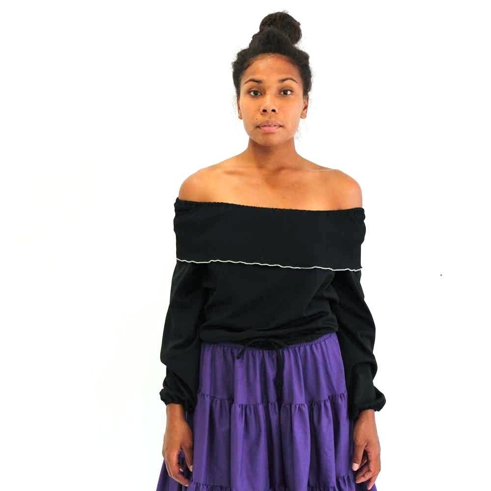 off the shoulder black blouse . vintage black peasant blouse