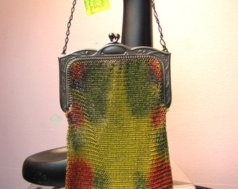 DRESDEN Enamel / WHITING & DAVIS 1920's Flapper Purse / Enamel Mesh, Art Deco Evening Bag
