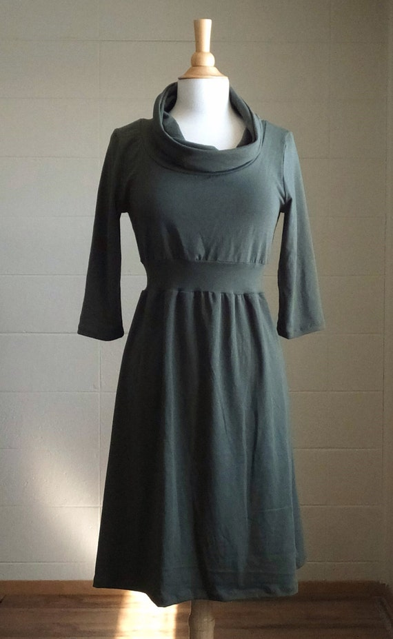 Cowl Dress Cotton Empire waist 3/4 Sleeve Womens knee length holiday party long sleeve fall fashion olive green turtleneck Made to Order