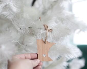 Minnesota State Ornament - I heart Minnesota - Bamboo Ornament MN State Pennant Wooden Ornament Christmas Decor
