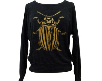 Beetle Sweater -  Golden Beetle Insect Bug print on a SOFT vintage feel raglan - (Available in sizes S, M, L)