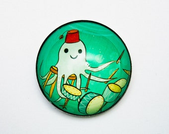 Drummer Gift Music Gift - Drums Magnet - Gift for Musician Drummer - Octopus drummer art