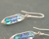 Custom birthstone peapod earrings with Swarovski Crystals.  Mothers day gift. Peapod jewelry.