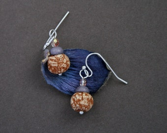 small earrings with natural pod beads - bohemian jewelry - rustic earrings