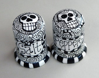 Day of the Dead Hand Painted Ceramic / Pottery Salt and Pepper Shakers - Home Decor by Artist Cindy Couling