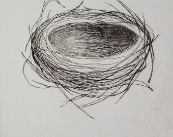 Brewer's Nest - 6.5 x 6.5 - drypoint etching of birds nest in black and white ORIGINAL