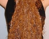 SALE Hand Knit Scarf Eyelash Lace Rayon Bronze Cream Brown