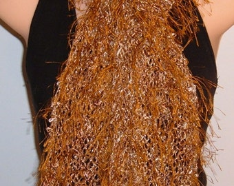 SALE Hand Knit Scarf Eyelash Lace Rayon Bronze Cream Brown