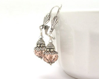 Peach Earrings Peach Pink Glass Neo Victorian Antiqued Silver Wedding Bridal Jewelry Bridesmaid Gift, Bridal Earrings, Hawaii Beads Jewelry