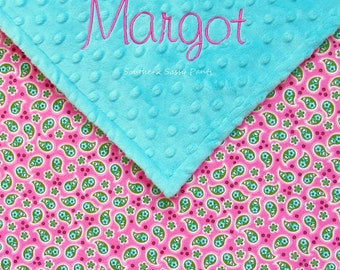 Personalized Baby Girl Blanket , Pink and Green Paisley and Minky , Baby Blanket