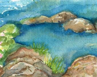 Tidal Pool seascape watercolors painting original, small watercolor of calm sea, original ocean art, beach decor, small watercolors of ocean