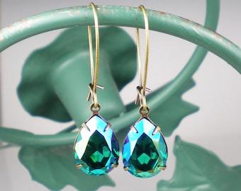 Blue Zircon Glacier Blue Rhinestone Dangle Earrings Swarovski Earrings Teal Blue Green