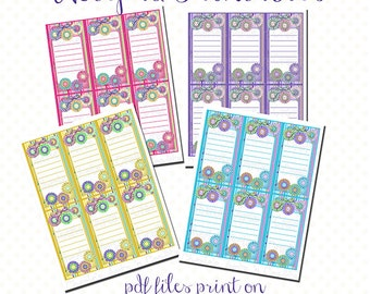 Amazing Printables, Notepad Printables, Instant Download PDF, Country Floral  Notepads, Four Colors,