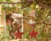 Hag stone and Goldstone Star Earrings - Beach combed witches stones, adder stones - glittery sparkly golden aventurine glass stars - rustic