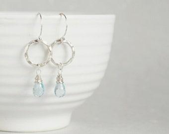 Sky blue TOPAZ textured fine silver hoop dangle earrings - Southern Rain