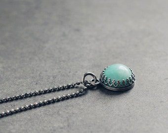 Aqua blue AMAZONITE oxidized sterling silver necklace, crown bezel setting