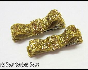 Set of 2 Gold Glitter Hair Clips, Glitter Hair Clips, no-slip clips, toddler girl hair clips, baby girl clips, international shipping