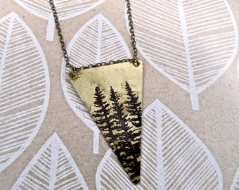Long Necklace REVERSIBLE Triangle with Dark Side of the Moon / Pine Tree Print on Antique Raw Brass