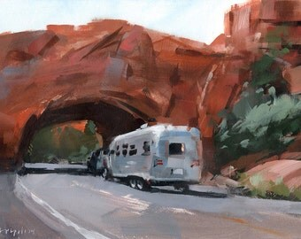 Art Print Retro Airstream Vintage Mountains Outdoors 9x12 on 11x14 - Canyon Expedition by David Lloyd