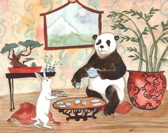Tea with Panda - Fine Art Rabbit Print
