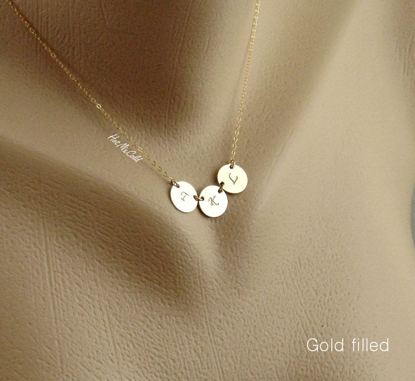 three initial charm necklace tiny monogram disc necklace