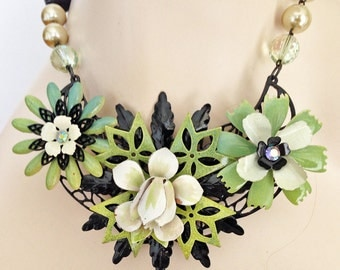 Vintage Enamel Statement Necklace. OOAK Necklace. Teal, Green, Black and White