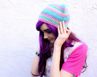 Pastel Rainbow Kitty Ear Beanie - Ombre Fade Crocheted Cat Hat, Vegan Friendly Wool-Like Acrylic Yarn