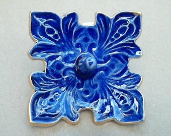 Ceramic Ring Holder Bowl Cobalt Blue fleur de lis