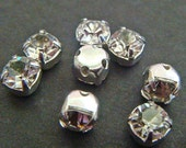 Rhinestone Montees 5 mm GLASS Lot of (50) Set in Silver Tone Metal Sew On Trim Round All Glass Rhinestone  jc mont4rd MORE AVAILABLE