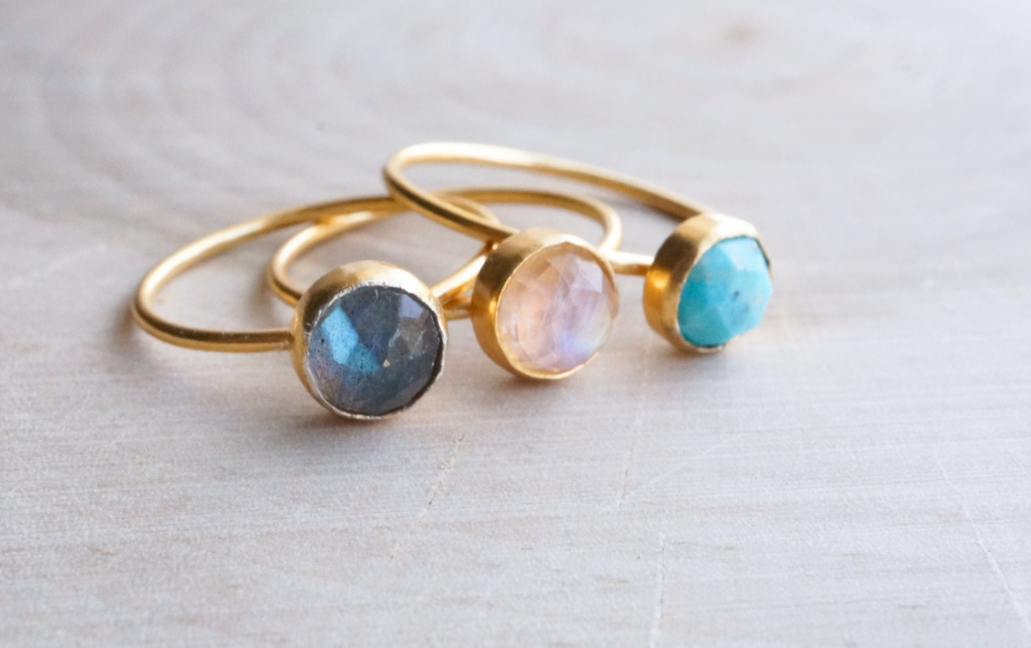 6mm gemstone ring gold ring stackable rings by lilpengee
