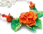 50 PERCENT OFF Orange Rose Necklace, Floral Necklace, Flowers, Green, Tangerine, Orange, Summer Rose, Leaves
