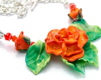 50 PERCENT OFF Orange Rose Necklace, Floral Necklace, Flowers, Green, Tangerine, Orange, Summer Rose, Leaves