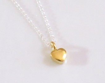 Tiny Gold Heart Charm Sterling Silver Chain Sweetheart Necklace DJStrang Mixed Metals Mininalist