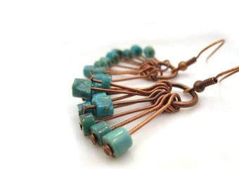 Turquoise Jewelry. Copper Earrings. Lightweight Earrings. Boho Earrings. Blue Earrings. Dangle Earrings. Drop Earrings. Jewelry - KADENCE