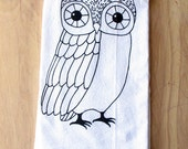 Owl Tea Towel - Silkscreened - 100% Cotton - Flour Sack Tea Towel