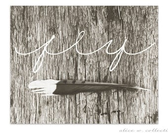 Fly Single Feather Rustic Bohemian Typography Wall Art, Instant Download