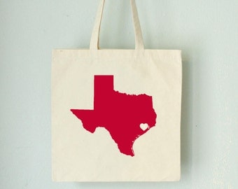 Texas LOVE Tote HOUSTON red state silhouette with heart on natural bag