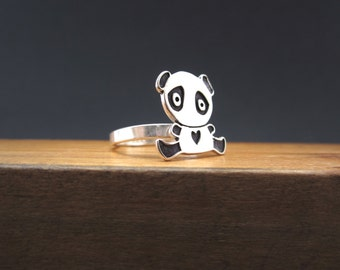 Sterling Silver Panda Ring - Panda Bear Ring Custom Made in Your Size
