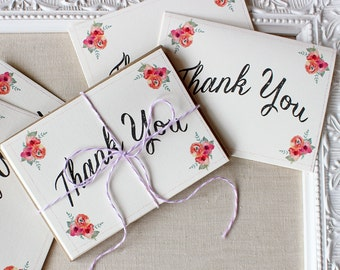 Floral Watercolor Thank You Note Cards set of 5